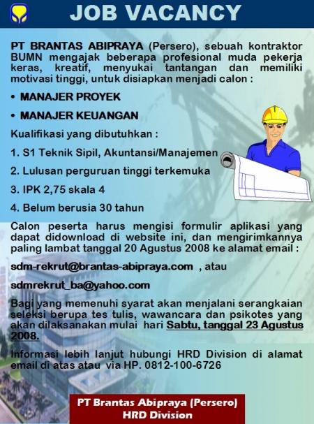 Lowongan Kerja Sarjana Teknik Sipil Dan Ekonomi